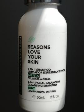Seasons - 3 en 1 Shampoo Limpiador Equilibrante Facial Menta