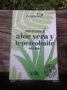 Extraherbos - Jabón Aloe Vera y tepezcohuite, cicatrizante y antipuntos negros