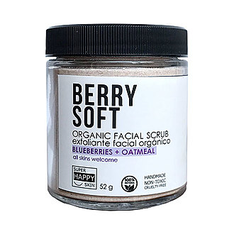 Super Happy Skin - BERRY SOFT organic facial scrub blueberries + oatmeal